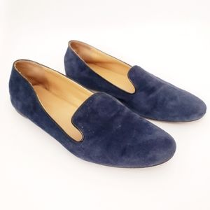 J. Crew Factory Blue Suede Leather Loafer Flats 9